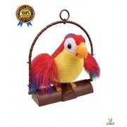 Repeat Talking Toy Parrot - By Cora - Talk Back Parrot Repeat Mimics Voice and Flaps the Wings comes with hanging.