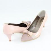 Pantofi piele naturala dama - roz, Nike Invest - toc mediu - M421-Bej-Pud-L