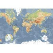 Werk aan de Muur Schilderij Wereldkaart, Klassiek - Aluminium Dibond - 120x80