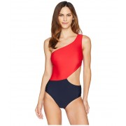 MICHAEL Michael Kors Geometric Glamour Solids One Shoulder Cut Out One-Piece Swimsuit w Zipper amp Removable Soft Cups New Navy