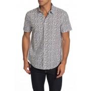 John Varvatos Star USA Short Sleeve Floral Print Trim Fit Woven Shirt BLACK SAND