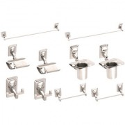 2-Set Of 5 Pieces Stainless Steel Bathroom Accessories Set-(2-Soap Dish 2- Tumbler Holder 2- Towel Rod -24 2- Napkin Ring 2- Robe Hook)-Omni Series