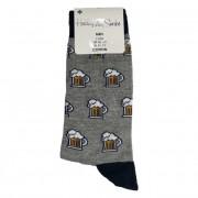 Ponožky bavlněné motiv piva šedé vel. 39-42
