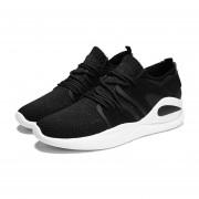 Moda hombres Flyknit Malla superior transpirable zapatos deportivos al aire libre girando Negro