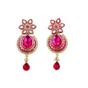 Indian Style Beaded Dangle Drop Fashionable Earrings Traditional Jhumka Jhumki Earrings for Women 09 PINK