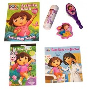 Dora the Explorer Activity Gift Set ~ New Exploration (Educational 2 in 1 Book, Sticker Book, Jumbo Eraser, Coloring Roll, Coloring Book with Stickers, Brush; 6 Items, 1 Bundle)