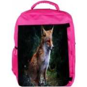 Snoogg Eco Friendly Canvas Abstract Unique Fox Designer Backpack Rucksack School Travel Unisex Casual Canvas Bag Bookbag Satchel 5 L Backpack(Pink)