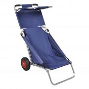 vidaXL Carrinho de praia portável e dobrável com rodas azul
