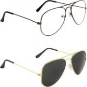 Zyaden Aviator, Aviator Sunglasses(Clear, Black)