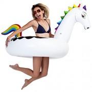 U.S. Pool Supply Giant 5 Foot Inflatable Rainbow Pegasus Pool Ring Tube Float - Fun Kids Swim Party Toy - Summer Lounge Raft
