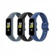 Set 3 curele din silicon pentru bratara smart Samsung Fit E SM-R375 negru alb albastru