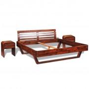 vidaXL Рамка за легло с 2 нощни шкафчета, акация масив, 180x200 cм