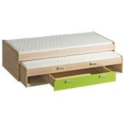 Dupla ágy pótággyal, 200x80, kőrisfa/zöld, EGO L16