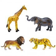 "BOLEY (4-Piece) JUMBO 11"" Safari Animals Set- Large Zoo Animals and Jungle Animals Set - African Animals Set - Includes Elephant Toy, Giraffe Toy, Lion Toy, and Tiger Toy - Educational Toy"