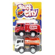 Construction Trucks Cars ModelToy Sets 2-pack Fire Engine & Tank Truck