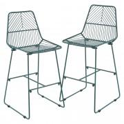 [en.casa]® Quebec Design barska stolica (set od 2 komada) - tirkizna