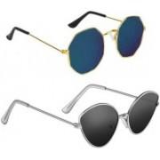 BKGE Cat-eye, Retro Square Sunglasses(Black, Blue)