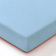 Biojersey hoeslaken, azuurblauw 70 x 140 cm