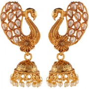 Pourni exclusive Peacock Designer reverse AD Pearl Jhumka Earring - KRER51