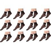 Yorker Ultra-Thin Transparent Ankle Length Nylon Stocking Socks for women/Girl's Combo Pack Of 12