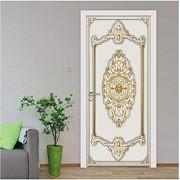 LeiDyWer Patrón de flores autoadhesivo extraíble pegatina de puerta Mural papel tapiz calcomanías de pared sala de estudio dormitorio puerta decoración cartel