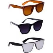 TheWhoop Wayfarer Sunglasses(Brown, Black, Silver)