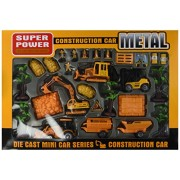 Super Power Century Construction Toy Construction Vehicle Die Cast Car Play Set w/ 4 Vehicles, 3 Construction Worker Figures, & Accessories
