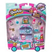 Set 8 figurine Shopkins Purple, mini dulciuri asortate si carucior, 5 ani+