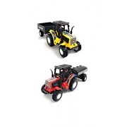 Combo Toys of Tractor with Trolley and Tractor with Tanker | Toy for Kids | Show Piece | Miniature/Model Tractor |Pull Back and Go | Yellow and Red Color| Value Pack (Set of 2 Tractors)