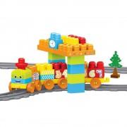 Set de constructii cu trenulet, 58 piese, sine asamblate 224 cm, 18 luni+