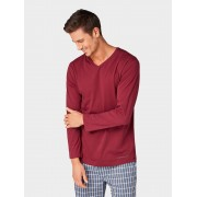 TOM TAILOR pyjama Top met lange mouwen, Heren, red-dark-solid, 50/M