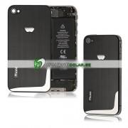 iPhone 4S Bakstycke Borstad L-Design (Svart)
