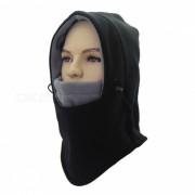 Exterior Multifuncional Doble Fleece Unisex Windproof mascara de la mascara Cap - Negro + Gris