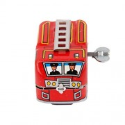 Wind Up Fire Truck Model Clockwork Kids Play Toys Collectible