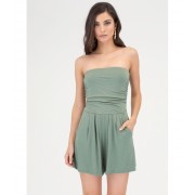 CheapChic Ride The Tube Strapless Draped Romper Sage