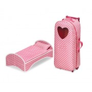 Badger Basket 3-in-1 Doll Carrier with Rocking Bed & Bedding (Fits American Girl Dolls), Pink Polka Dot/White