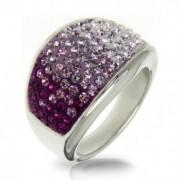 Ocelový prsten s krystaly Crystals from Swarovski®, AMETHYST