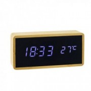 Ceas de birou iluminat LED senzor sunet alarma temperatura din bambus