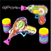 "6 Pack Bubble Gun Blower Blaster With Bubble Solution Set 4.75"" - Transparent Bubbles Shooter - For Kids, Boys, Girls, Toy, Play, Prize, Gift, And Party Favors - By Kidsco"