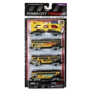 Jakks Pacific Year 2013 Power City Trains Series 4 Pack Train Accessory Set - Motocross International Tour MXS BULLET with Vehicle Transport Freight Car with 3 Removable Cars and 1 Pick-Up Plus 3 Passenger Transport Cars