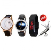 Buy 2 Stylish Watches + Led watch and get knife free