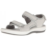 Clarks Women's Brizo Sammie Flat Sandal, Light Grey Perforated Microfiber, 10 W US
