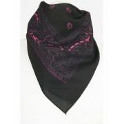 Zwarte boerenzakdoek / bandana met klassiek motief in hard roze