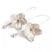 Cercei handmade argint 925 Flower si perle Swarovski Argintiu lungime 8 cm