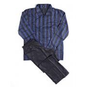 Hom Стильная мужская пижама из тончайшего специально обработанного хлопка синего цвета в полоску HOM Lord 04626cB9