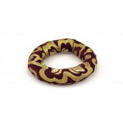 Brokátový prstencový vankúšik o priemere 12,5 cm - bordovo-fialový