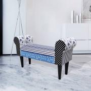 vidaXL Patchworková lavice ve venkovském stylu, modro-bílá