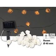 Solar-LED-Lichterkette mit 20 weissen Rosen, warmweiss, IP44, 2 m | Solar Lichterkette