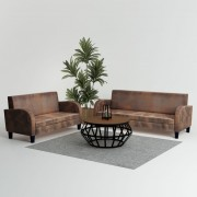 vidaXL Set canapea, 2 buc., piele artificială de căprioară, maro