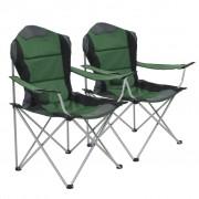 vidaXL Cadeiras de campismo dobráveis 2 pcs 96x60x102 cm verde